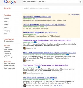 Logged In Google Search Results Page Web Performance Optimization